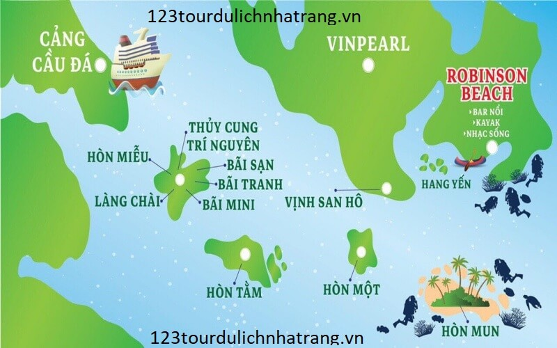 Tour 4 đảo Nha Trang Bản đồ địa điểm